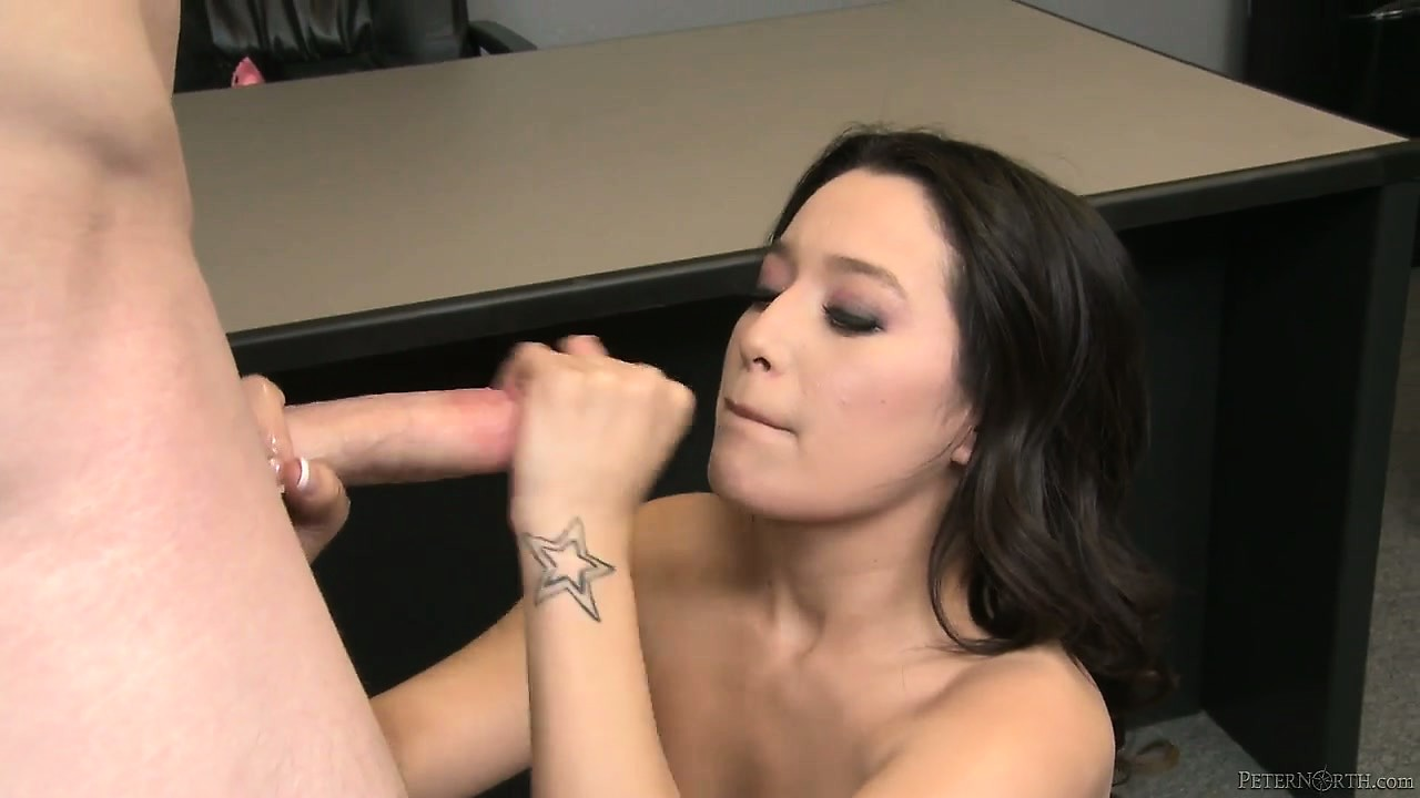 Porn Tube of Sexy Brunette Girlfriend Gets On Her Knees For Action And Swallows His Cock And Balls