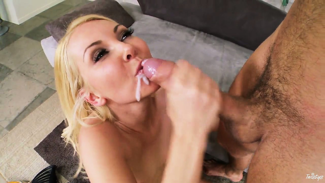Porno Video of All Over Her Pretty Sexy Face, The Hot Blonde Gladly Receives His Cum