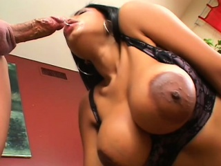 caramel babe with huge hooters takes a long white dick up her anal hole