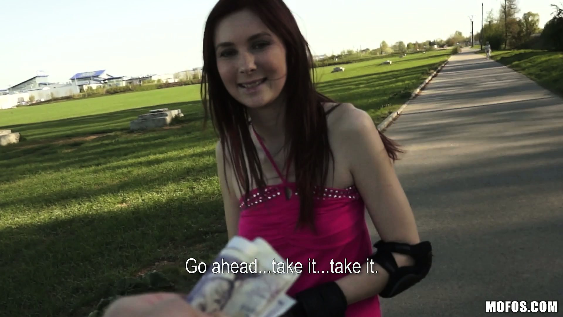 Porn Tube of Cute Brunette Outside Roller Skating Gets A Proposition For Some Cash