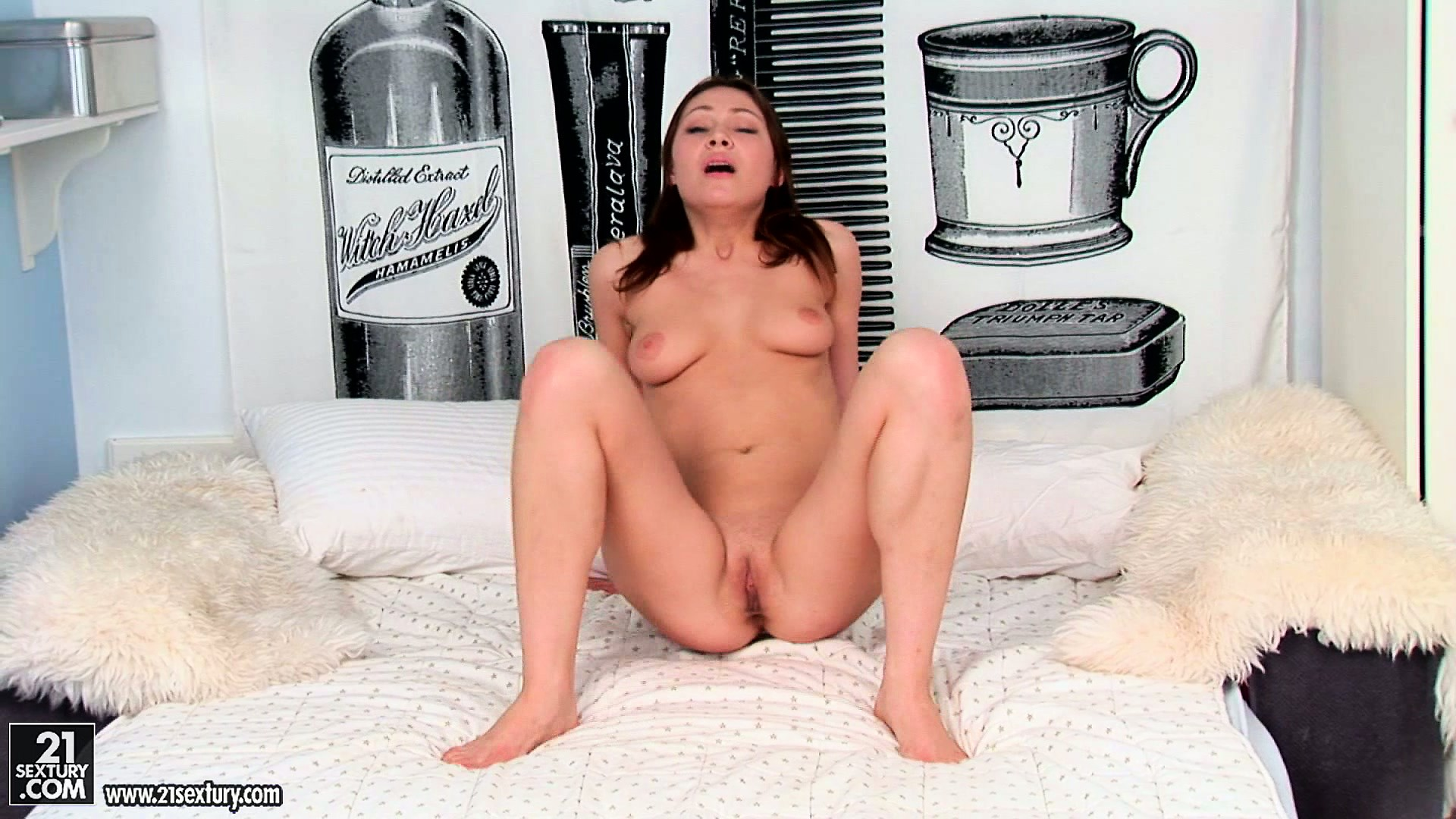 Porno Video of Macy, A Slim Girl With Cute Tits, Strips Her Panties And Plays With Her Sex Toy